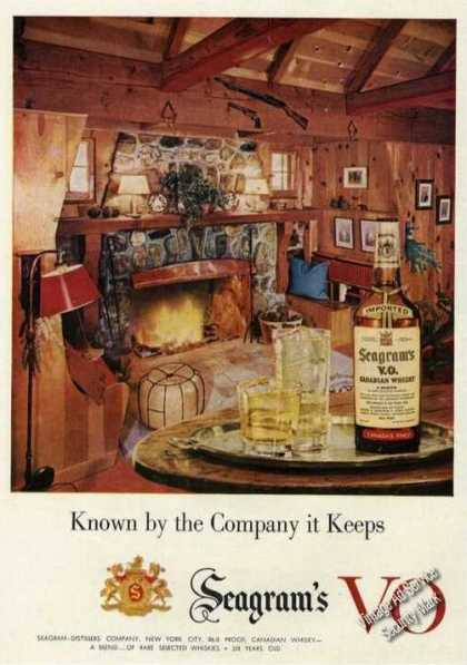 Seagram's Vo Ad Nice Fireplace Hunting Lodge Photo (1956)