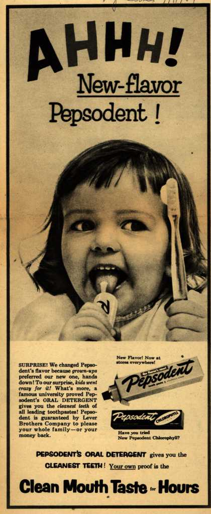 Lever Brothers Company's Pepsodent Tooth Paste – AHHH! New Flavor Pepsodent (1954)