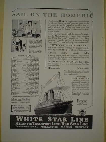 White Star Line Cruise Ship Sail on the Homeric (1926)