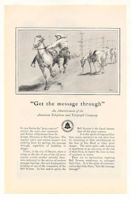 AT&amp;T Bell Telephone System Pony Express Rider (1928)