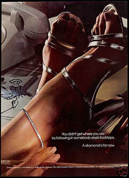 Debeers Diamonds Ladys Feet Shoes De-Beers (1977)
