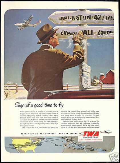 TWA Airlines Skyline System Map Winter Travel (1951)
