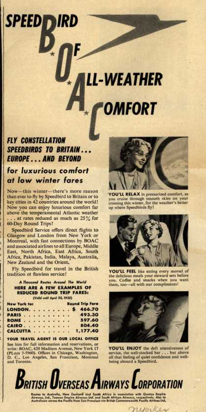 British Overseas Airways Corporation – SpeedBird Of All Weather Comfort (1949)