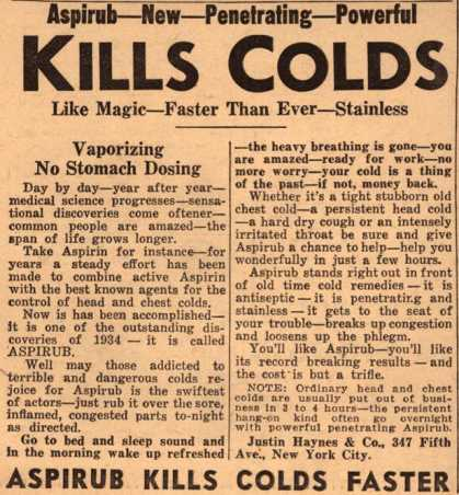 Justin Haynes & Co.'s Aspirub – Kills Colds (1935)