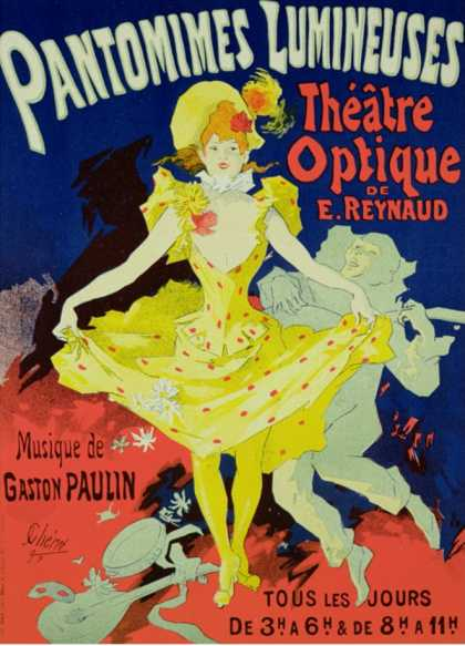 "Reproduction of a Poster Advertising ""Pantomimes Lumineuses"" at the Musee Grevin (1892)"