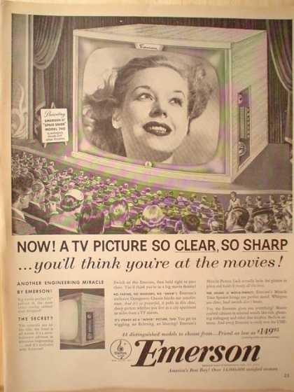 Emerson TV Television Clear and Sharp (1953)