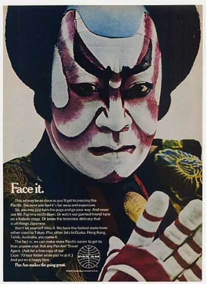 Pan Am Airlines Japanese Kabuki Man Photo (1969)