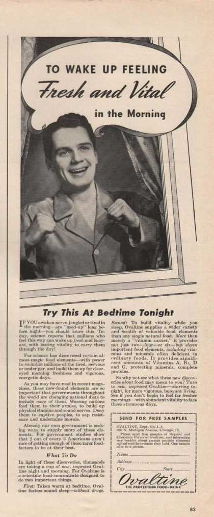 Wake Up Feeling Fresh & Vital Ovaltine (1942)