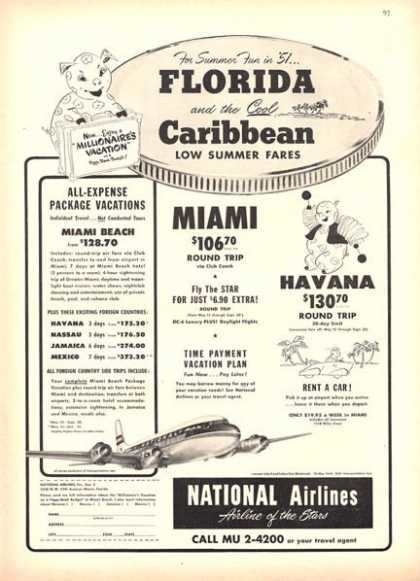 National Airlines Florida Caribbean Havana (1951)