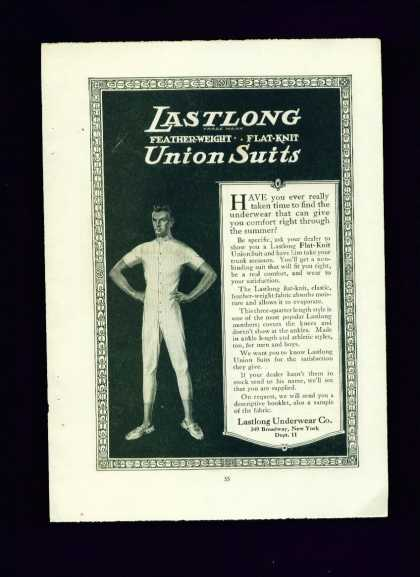 Lastlong Union Suit C Ad Man In Union Suit (1910)