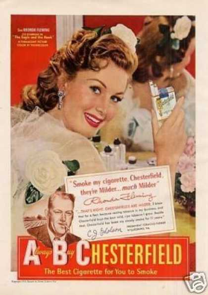 Chesterfield Cigarettes Ad Rhonda Fleming (1950)