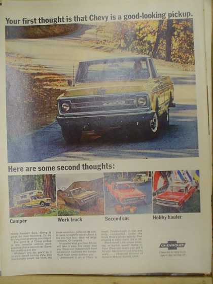 Chevy pickup truck. First thought is Chevy is a good looking truck (1969)