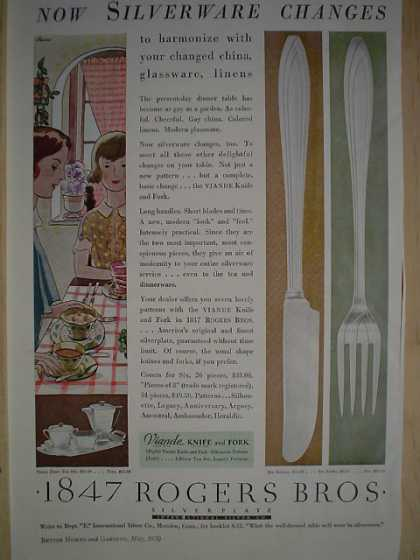 1847 Rogers Brothers Silverware Viande Knife and Fork (1930)