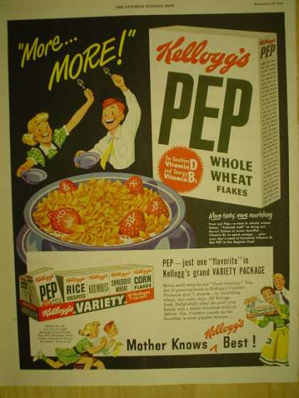 Kelloggs PEP Whole Wheat Flakes Cereal Variety Pack (1949)