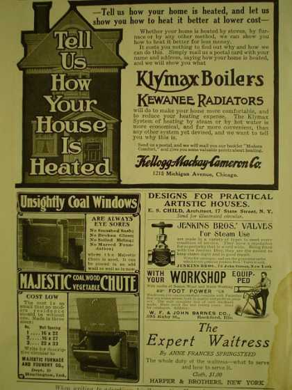 Kellogg MacKay Kellogg Co Klymax Boilers AND Majestic Coal Chute AND White House Coffee Teas Electro Silverware (1908)