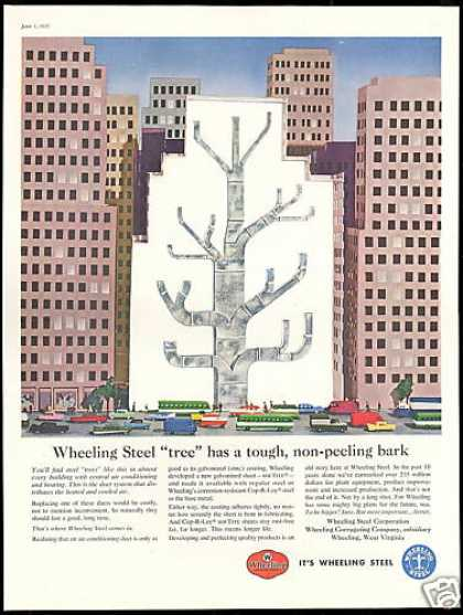 City Building Air Heating Ducts Wheeling Steel (1957)