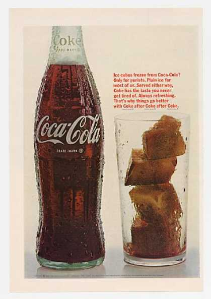 Ice Cubes Frozen From Coca-Cola Coke Bottle (1966)
