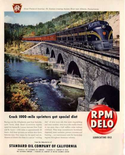 Rpm Delo Oli St Louisan Train Juniata River Pa (1950)