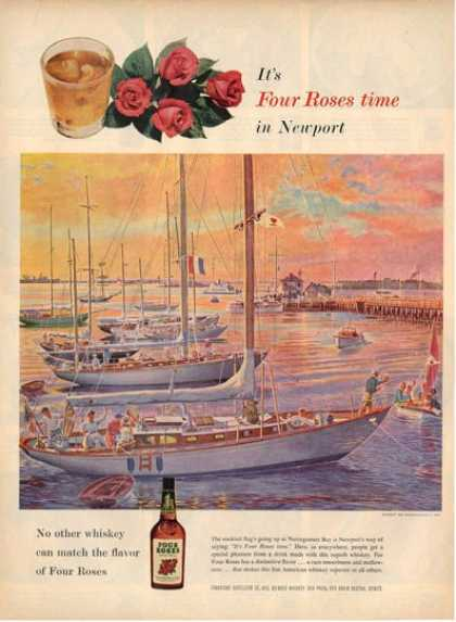 Four Roses Whiskey Sailboat Narragansett Bay Ad T (1956)