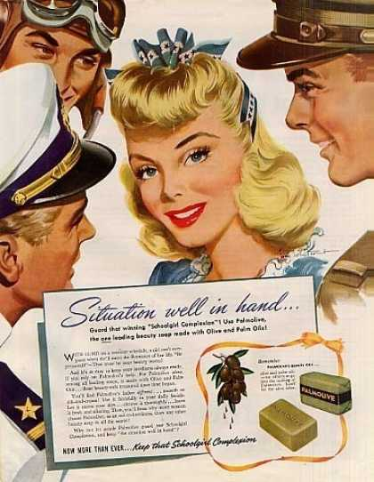 """Palmolive Soap Ad """"Situation Well In Hand... (1942)"""