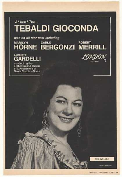 Marilyn Horne Tebaldi Gioconda London Photo (1968)