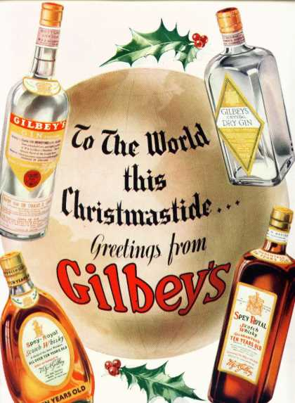 Gilbey's Gin Spey Royal Scotch Whisky Liquor (1936)