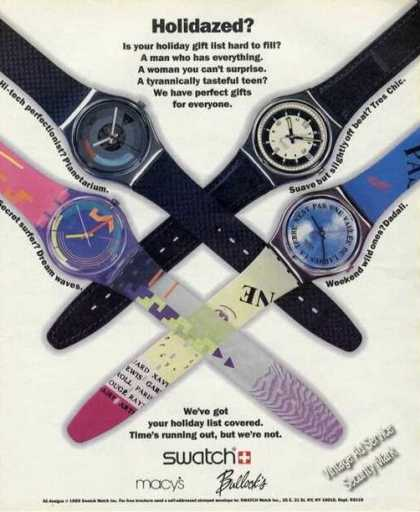 Swatch Watches Holidazed Macys/bullocks (1989)