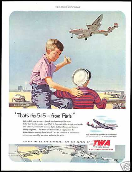 TWA Airlines Skyliner System Map Two Boys Art (1951)