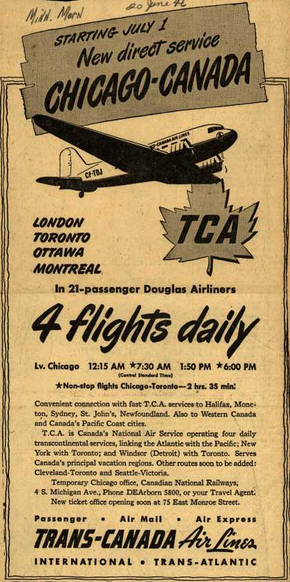 Trans-Canada Air Lines – Starting July 1 New direct service Chicago-Canada (1946)