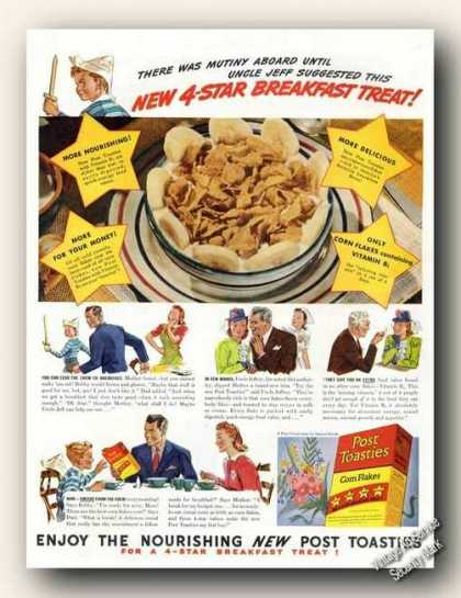 Post Toasties Corn Flakes Period Art Cereal (1941)