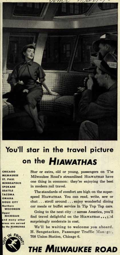 Milwaukee Road's Hiawathas – You'll star in the travel picture on the Hiawathas (1952)