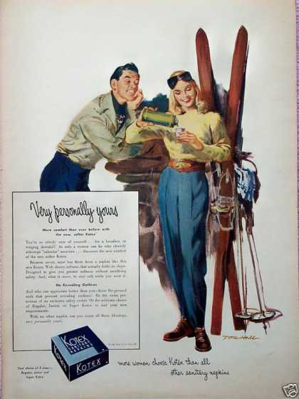 Kotex Snow Skiers Coffee Break Personally Yours (1948)