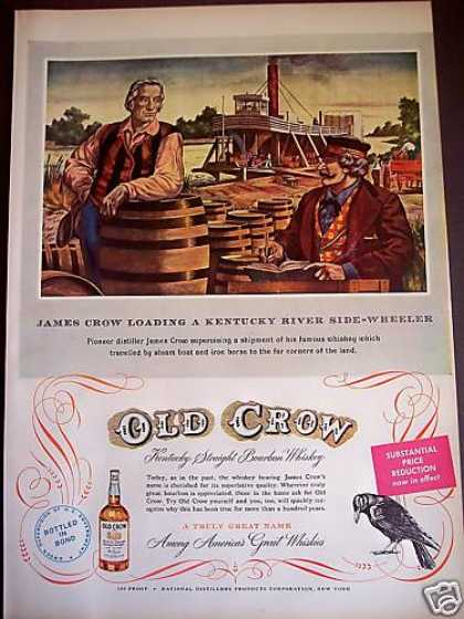 Side-wheeler River Boat Old Crow Whiskey Barrel (1950)