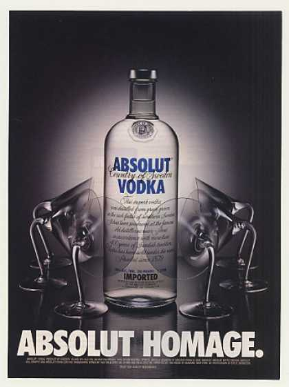 Absolut Homage Vodka Bottle Glasses Bronstein (2000)