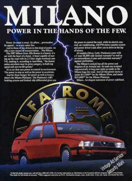 "Alfa Romeo Milano ""Power In Hands of Few"" (1987)"