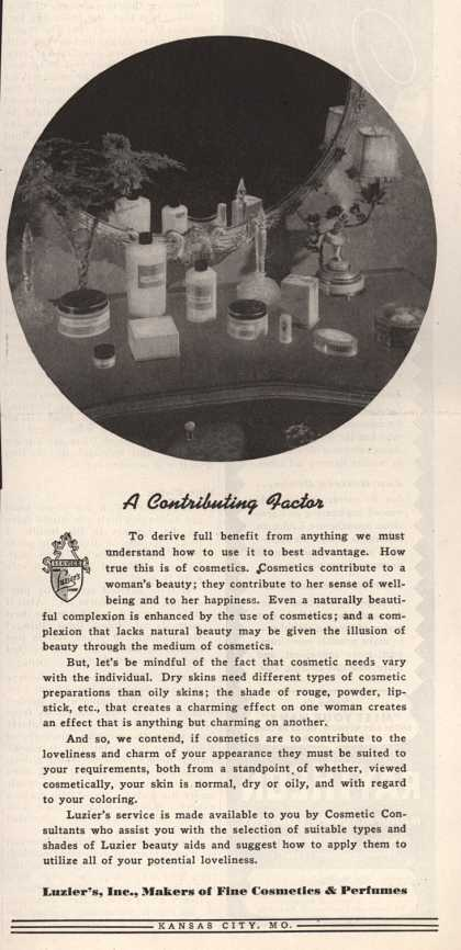 Luzier's Cosmetics and Perfumes – A Contributing Factor (1945)