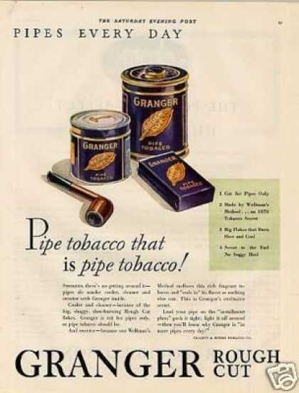 Granger Rough Cut Tobacco Color Ad 2 Page (1931)