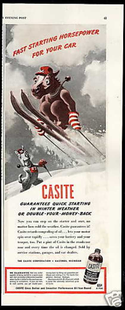 Casite Car Engine Oil Treatment Horse Snow Ski (1946)