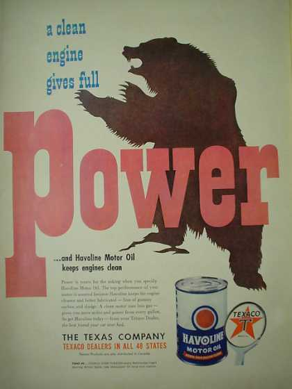 Texaco Havoline Oil Bear AND Florida Orange Juice (1949)