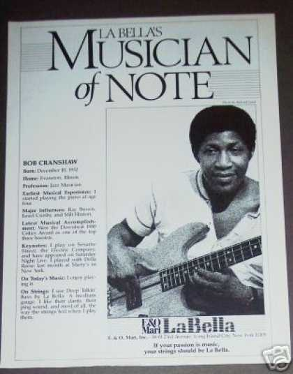 Bob Cranshaw Photo La Bella Bass Guitar Strings (1980)