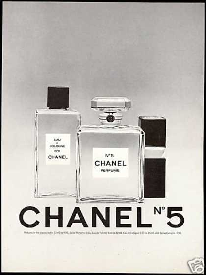 Chanel No 5 Perfume Bottles Spray Print Vintage (1975)