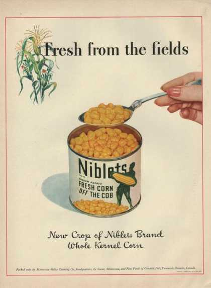 Niblets Fresh Corn Off the Cob In a Can (1942)