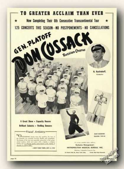 N. Kostrukoff Photo Don Cossack Russian Chorus (1945)