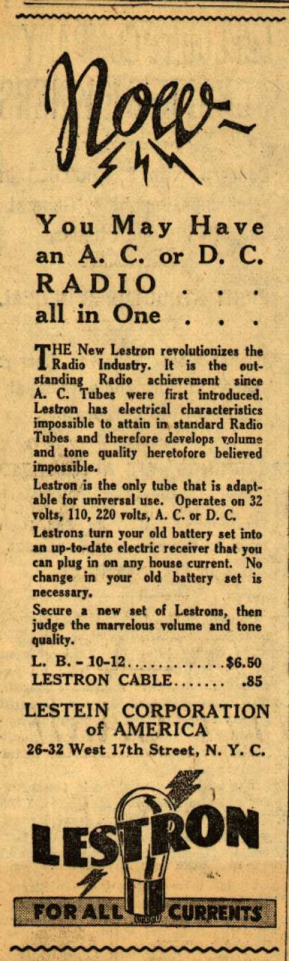 Lestein Corporation of America's Radio Tubes – Now – You May Have an A.C. or D.C. RADIO all in One... (1930)