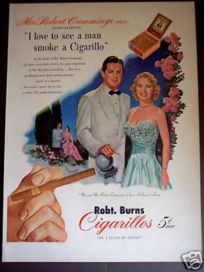 Actor & Mrs Robert Cummings Cigarillos (1951)