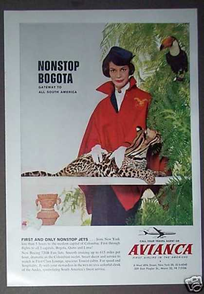 Stewardess With Ocelot Avianca Airline Photo (1962)