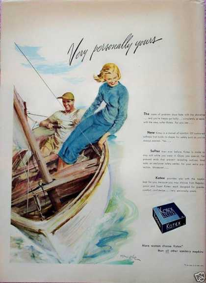 Kotex Couple Small Sail Boat Tom Hall (1948)