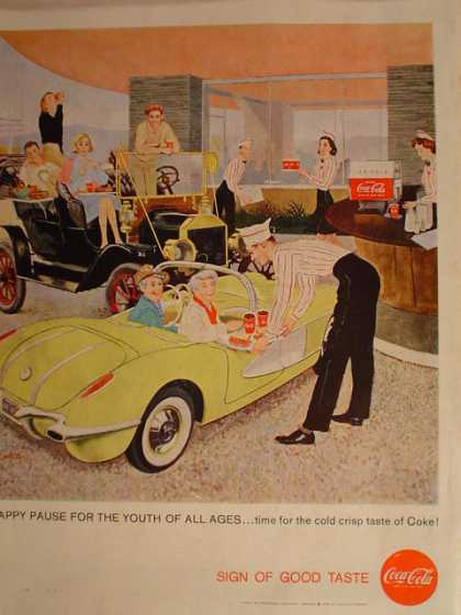 Coca Cola Coke Corvette Sign of all ages (1958)