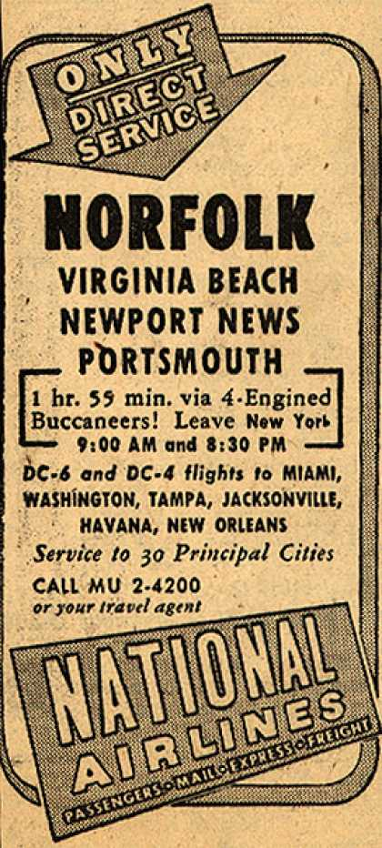 National Airline's Direct Service Flights – Only Direct Service Norfolk Virginia Beach Newport News and Portsmouth (1948)