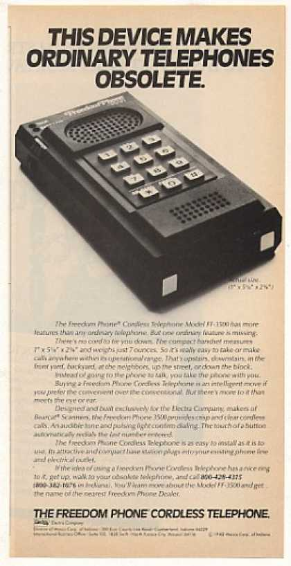 Electra Freedom Phone Cordless Telephone (1982)